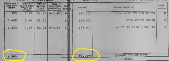 הצעת הבנק משכנתא 930K, החזר 3500